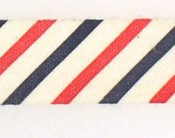 """5/8"""" Red and Blue Stripes Fabric Linen Tape 2yd"""