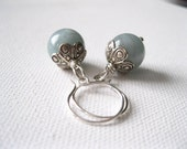 Natural Moss Aquamarine Large Smooth Round Bead Earrings with Fair Trade Fine Silver Karen Hill Tribe Bead Caps UK Seller Contemporary Boho