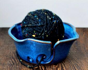 Cobalt Blue Yarn Bowl for Crochet or Knitting Wheel Thrown Gift for Her