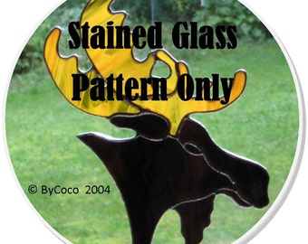 Stained Glass Pattern for Hunter's Trophy Stained Glass Moose Head--An Original Design By Coco Watkin-PDF Glass Pattern for Suncatcher Only