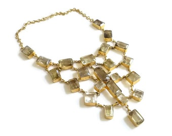 Massive Statement Necklace  Vermeil and Citrine