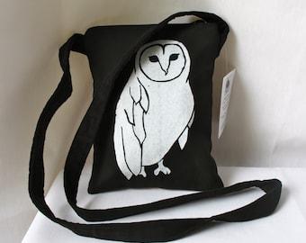 Barn Owl Passport  Bag 9 x 7 Black