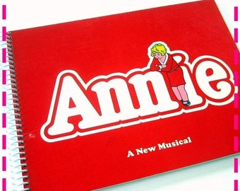 SALE 40% OFF--- ANNIE A New Musical Original Record Album Cover Journal Notebook - Original Broadway Cast - Eco-Friendly Vintage Circa 1977-