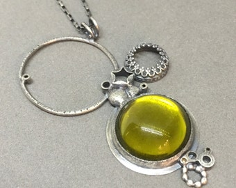 moss acid green necklace pendant everyday charm necklace metalsmith contemporary modern jewelry statement