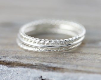 Set of 3 textured stacking rings in sterling silver or yellow gold filled - twisted, smooth and faceted rings