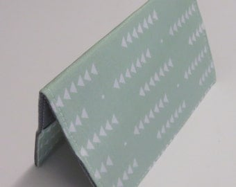 Passport Cover Case Travel Holder - White Triangles on Mint Green Fabric
