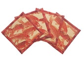 Koi Pond Fabric Coaster Set, Goldfish, Koi, Orange