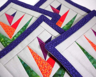 Bird of Paradise Fabric Coaster Set, Pieced, Quilted, Large sized