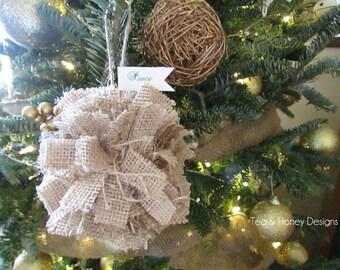 Burlap Christmas Ornament, Rag Ball, Rustic Christmas Tree Ornament Set/3