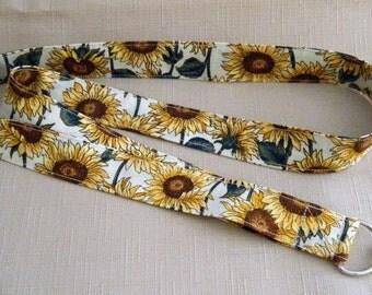 Sunflowers4 white - handmade fabric lanyard