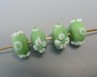 Lampwork Beads, Lampwork Flower Beads, Artisan Lampwork Beads, White Flower Beads, Green Lampwork Glass Beads, Lampwork Rondelle Beads, Four