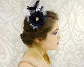 Gothic Headband, Skull and Flower Black and Silver Headpiece, Gothic Lolita, Halloween, Costume Headdress, Vintage, Flapper, Dark Lolita