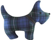 Blue Plaid Tartan Scottie Dog Pillow