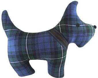 Blue Plaid Tartan Scottie Dog Pillow