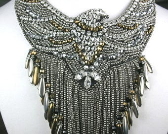Beaded Bib Necklace - Swarovski Beaded Embroidered Eagle in Silver & Gold with Fringe