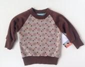 Raglan Style Tshirt - handmade, baby, infant, vintage polyester, boy, girl, brown, orange