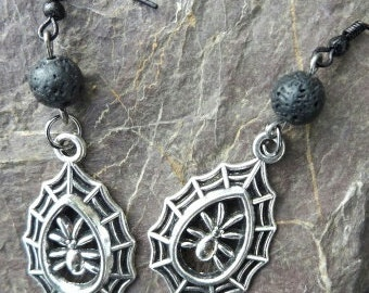 SALE!!! Silver Spiders In Webs And Lava Ear Ornaments