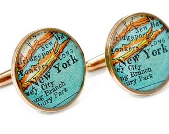 New York Cufflinks  Bronze Antique Map Vintage Globe Cuff Links Gift for Him Father's Day Groom Dad
