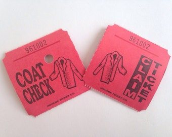 Coat Check - Claim Tickets - 12 Count - Dozen - Scrap Booking - Card Making