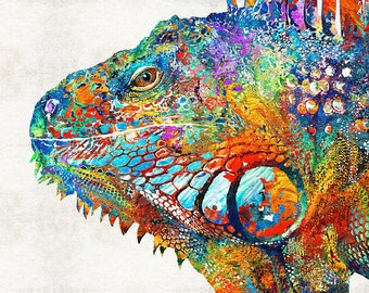 Colorful Iguana Art PRINT from Painting Cute LIzard Reptile Cool Rainbow Tropical Beach Animal Pop Art CANVAS Ready To Hang Large Fun Funny