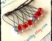 Snag Free Stitch Markers Large Set of 8-- Red and Clear Faceted Czech Glass -- N38 -- For up to size US 17 (12.75mm) Knitting Needle