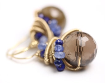 Special Offer - Smoky Quartz Earrings. Lapis Lazuli Blue Sapphire.
