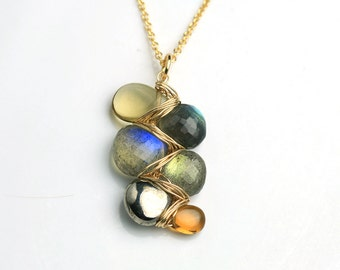 Twilight Shimmer Gem Weave Necklace . Labradorite Pyrite Citrine Honey Quartz