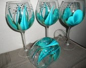 Wine Glasses Handpainted Must See Turquoise  and Teal