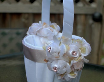SALE-Ivory or White Flower Girl Basket with Champagne/ Taupe Satin Ribbon and Flowers-Custom Ribbon Colors