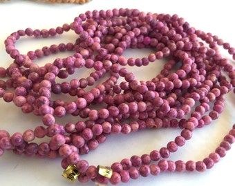 Purple berries Beads spacers  three (3) 32 inch L-O-N-G strands clay ceramic opaque rounds  4mm  almost 3 yards long