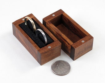 Reclaimed Acacia Wood Double Ring Box, Keepsake Box, Wedding Ring Bearer Pillow