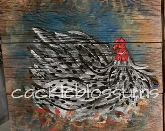 """16"""" X 16"""" #622 Constructed Rustic Wood Wall Decor Rooster Original Art"""