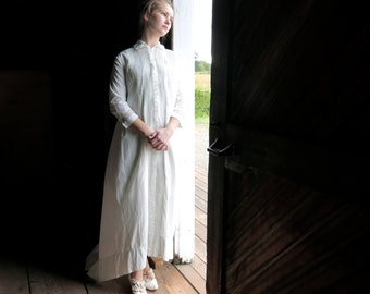 Victorian Trained Night Robe Wedding Trousseau Dressing Gown XS