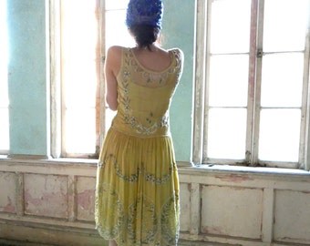Yellow Silk Chiffon Beaded Flapper Dress with Slip