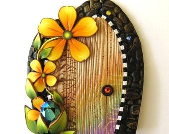 Rainbow Fairy Door, Tooth Fairy Door, Miniature Fairy Garden Decor, Fantasy Collectible