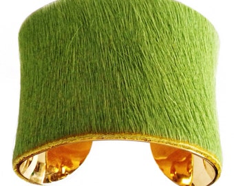 Lime Green Pony Hair Cowhide Cuff Bracelet - by UNEARTHED