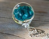 Turquoise Gemstone and Zirconia Pendant, Sterling Silver Necklace, Resin Jewellery