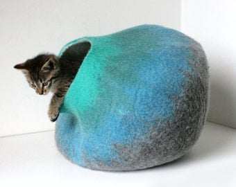 Cat Cave / Bed / House / Vessel - Hand Felted Wool - Gray to Turquoise Bubble - Crisp Contemporary Design