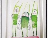 ORIGINAL ACEO, three people, bugs, butterflies, family, Artist trading cards, ATC whimsical watercolor by cori dantini
