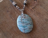 Blue Lace Agate with Hematite Viking Weave Chain, Handmade, OOAK, Unique, Viking, Medieval, Historical
