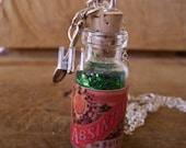 Absinthe Glass Bottle Necklace, Silver Spoon, Sugar Cube, Green Fairy, Historical, Antique Label, Handmade, OOAK, Belle Epoch