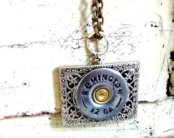 Remington shotgun shell necklace 12 gauge filigree casing cowgirl recycle mixed metals