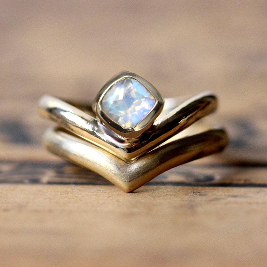 Rose Gold Moonstone Engagement Ring Set