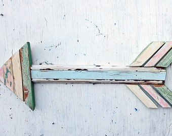 Large Wooden Arrow, Reclaimed Wood Art, Mosaic Wood Arrow, Nursery Decor, Boho Wall Art, Bohemian Decor, Rustic Home Decor, Wood Wall Art