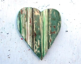 Green Heart, Boho Chic Decor, Bohemian Wall Art, Wood Wall Art, Wooden Heart Wall, Gypsy Decor, Reclaimed Wood Heart, Baby Nursery Heart