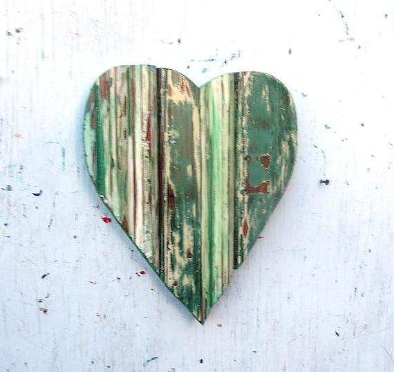 Boho Chic Wall Decor : Green heart boho chic decor bohemian wall art wood by
