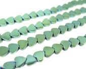 Mermaid Green Electroplated Hematite Heart Beads - (30x) (NS621)