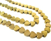 Bronze Electroplated Hematite Heart Beads - (30x) (NS569)
