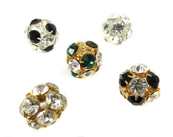 Mix of Vintage West German Rhinestone Ball Beads- (5X) (S572-E)