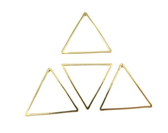 Gold Plated Triangle Shape Wire Charms (10x) (K217-C)